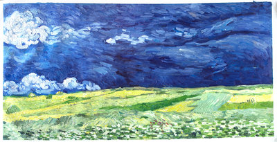 Wheat Field under Thunderclouds Van Gogh Reproduction, hand-painted in oil on canvas