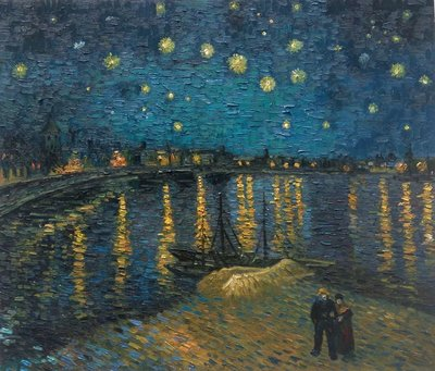 Starry Night over the Rhone Van Gogh Reproduction, hand-painted in oil on canvas