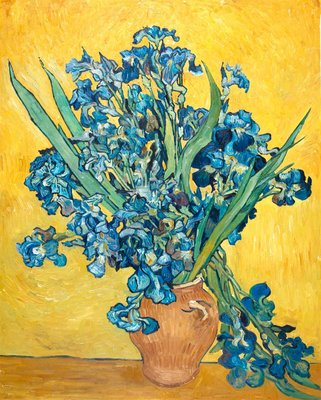 Vase with Irises against a Yellow Background Van Gogh Reproduction, hand-painted in oil on canvas 18