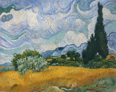 Wheat Field with Cypresses at the Haute Galline Van Gogh Reproduction, hand-painted in oil on canvas
