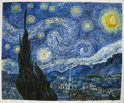 Starry Night Van Gogh Reproduction, hand-painted in oil on canvas