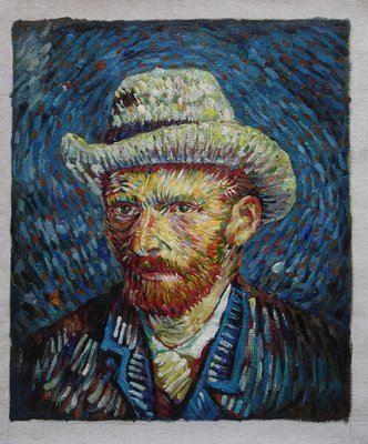 Self Portrait With Grey Felt Hat Van Gogh Reproduction, hand-painted in oil on canvas