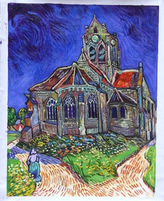 The Church at Auvers Van Gogh Reproduction, hand-painted in oil on canvas