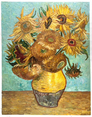 Vase With Twelve Sunflowers Van Gogh Reproduction, hand-painted in oil on canvas