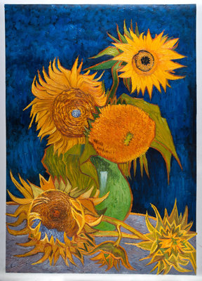 Vase with Five Sunflowers Van Gogh Reproduction, hand-painted in oil on canvas