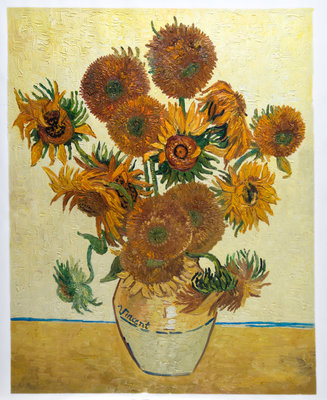 Still Life: Vase with Fifteen Sunflowers Oil Painting Reproduction, hand-painted in oil on canvas
