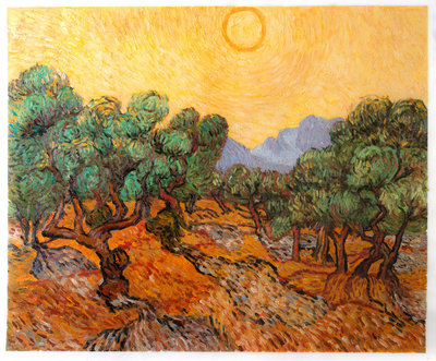 Olive Trees with Yellow Sky and Sun Van Gogh Reproduction, 1889