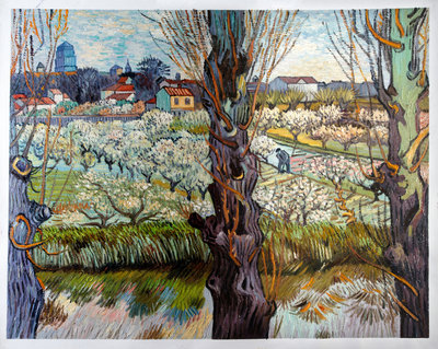 Orchard in Blossom with View of Arles Van Gogh Reproduction, 1889