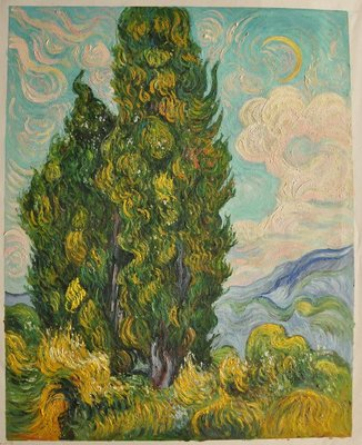 Cypresses Van Gogh Reproduction, hand-painted in oil on canvas