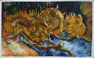 Four Cut Sunflowers Van Gogh Reproduction, hand-painted in oil on canvas