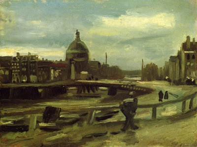 View of Amsterdam from Central Station Van Gogh Reproduction, hand-painted in oil on canvas