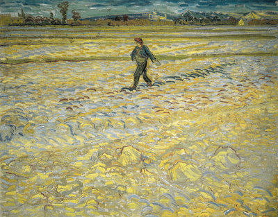 The Sower Villa Flora Van Gogh Reproduction, hand-painted in oil on canvas