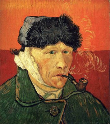 Self-Portrait with Bandaged Ear and Pipe Van Gogh reproduction, hand-painted in oil on canvas