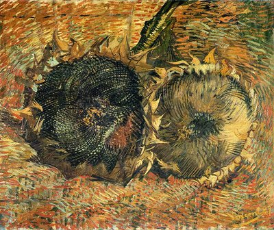 Two Cut Sunflowers Van Gogh Reproduction, hand-painted in oil on canvas