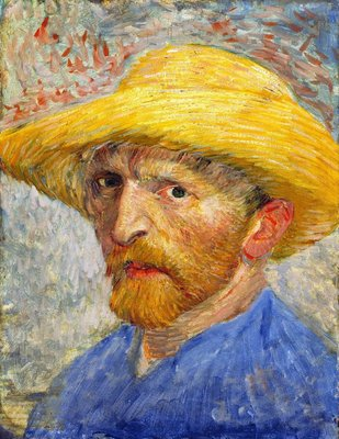 Self-Portrait with Straw Hat Van Gogh Reproduction, hand-painted in oil on canvas