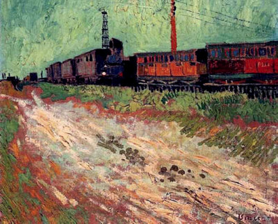 Railway Carriages Van Gogh Reproduction, hand-painted in oil on canvas
