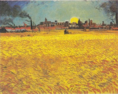 Sunset, Wheat Fields near Arles Van Gogh Reproduction, hand-painted in oil on canvas
