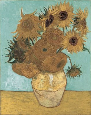 Still Life: Vase with Twelve Sunflowers Van Gogh Reproduction, hand-painted in oil on canvas