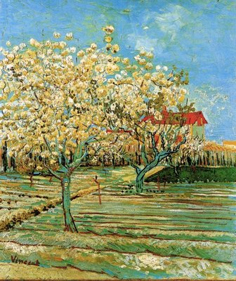 Orchard in Blossom Van Gogh Reproduction, hand-painted in oil on canvas