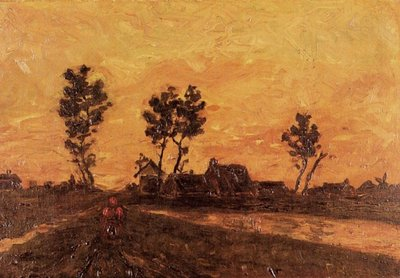 Landscape at Sunset Van Gogh Reproduction, hand-painted in oil on canvas