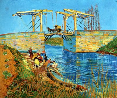 The Langlois Bridge at Arles with Women Washing Van Gogh Reproduction, hand-painted in oil on canvas