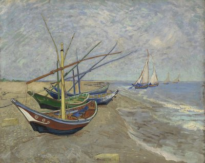 Fishing Boats on the Beach at Saintes-Maries Van Gogh Reproduction, hand-painted in oil on canvas