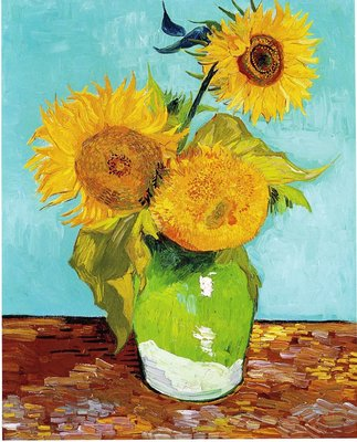 Three Sunflowers in a Vase Van Gogh Reproduction, hand-painted in oil on canvas
