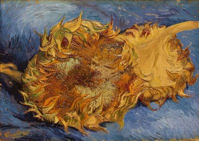 Two Cut Sunflowers Oil painting Reproduction The Met, hand-painted in oil on canvas