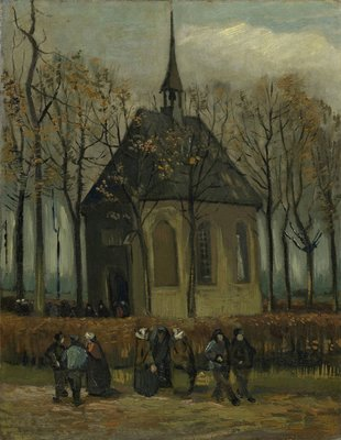 Congregation Leaving the Reformed Church in Nuenen Reproduction, hand-painted in oil on canvas