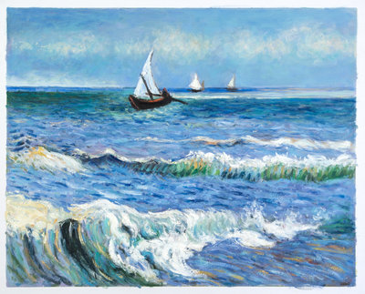 Seascape at Saintes-Maries Van Gogh Reproduction, hand-painted in oil on canvas