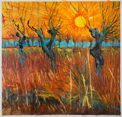 Willows at Sunset Van Gogh Reproduction, hand-painted in oil on canvas