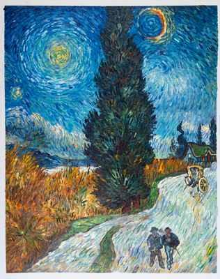 Road with Cypress and Star Van Gogh Reproduction, hand-painted in oil on canvas