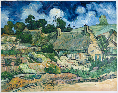 Thatched Cottages at Cordeville Van Gogh Reproduction, hand-painted in oil on canvas