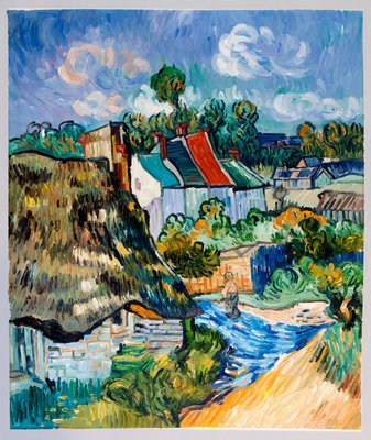 Houses in Auvers Van Gogh Reproduction, hand-painted in oil on canvas