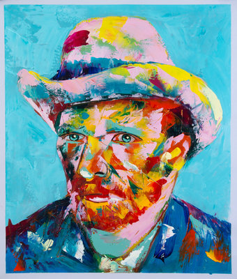 Van Gogh in Françoise Nielly style, hand-painted in oil on canvas