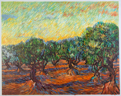 Olive Grove with Orange Sky Van Gogh Reproduction, hand-painted in oil on canvas