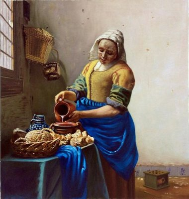 The Milkmaid Vermeer reproduction, hand-painted in oil on canvas