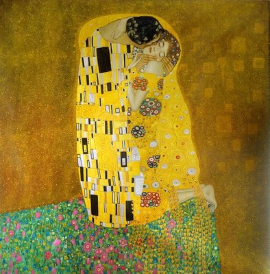 The Kiss Klimt reproduction, hand-painted in oil on canvas