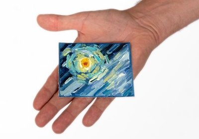 Starry Night mini painting, hand-painted in oil on canvas