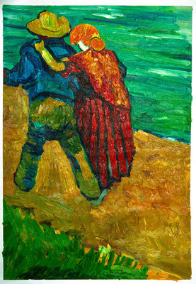 Two Lovers Van Gogh reproduction, hand-painted in oil on canvas