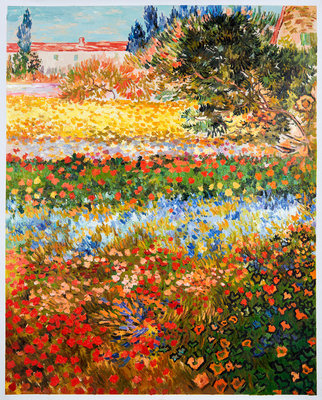 Flowering Garden Van Gogh Reproduction, hand-painted in oil on canvas