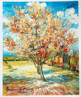 Peach Tree in Bloom Van Gogh Reproduction, hand-painted in oil on canvas