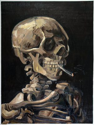 Skull with Burning Cigarette Van Gogh Reproduction, hand-painted in oil on canvas