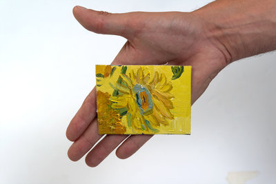 Sunflowers mini painting, hand-painted in oil on canvas