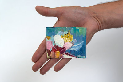 Almond Branch mini painting, hand-painted in oil on canvas