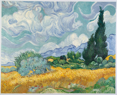 Wheat Field with Cypresses Van Gogh Reproduction, hand-painted in oil on canvas