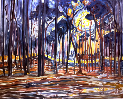 Woods near Oele Mondrian reproduction, hand-painted in oil on canvas