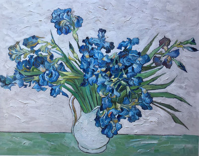 Still Life: Vase with Irises Van Gogh Reproduction, hand-painted in oil on canvas