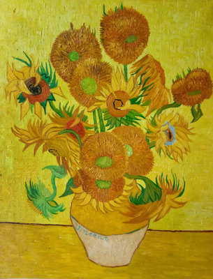 Vase With fifteen Sunflowers Van Gogh Reproduction, hand-painted in oil on canvas