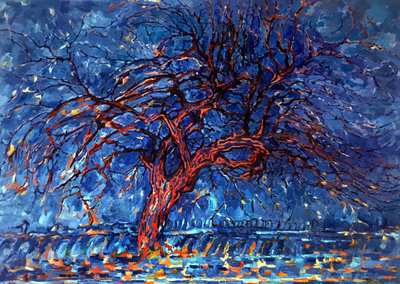 The Red Tree Mondrian reproduction, hand-painted in oil on canvas